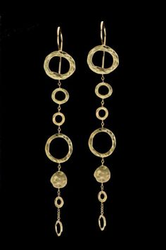 Gold Dangle Earrings 18K Solid Gold Hammered Hoops Dangles Pair Wedding Jewelry #Handmade #DropDangle