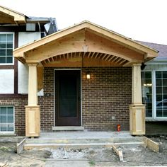 How Build Stone Cover Porch Pillars . How Build Stone Cover Porch Pillars . Cedar Columns for Front Porch Porch Pillars, Front Porch Columns, House Front Porch, Front Porch Design, Side Porch, Porch Awning, Porch Roof, Front Porch Remodel, Exterior Makeover