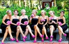 hot pink and navy blue bridesmaid dresses with matching shoes
