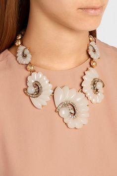 Oscar de la Renta Gold-plated, resin and crystal necklace NET-A-PORTER.COM