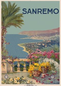 Sanremo travel poster from Italy - Beautiful Vintage Poster Reproduction. Italian travel poster features a balcony with a palm tree and potted flowers overlooking the coast and a village below. Giclee Advertising Print. Classic Posters