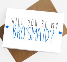 Will you be my man of honour / brosmaid card bridesmaid man of honour wedding, gift male bridesmaids cards, greetings card, best friend card by SiouxAlice on Etsy https://www.etsy.com/listing/216734973/will-you-be-my-man-of-honour-brosmaid