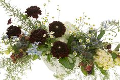 Summer Bespoke Centerpiece with garden flowers.  DIY how-to slide show.  Dahlias hydrangea and blackberries.