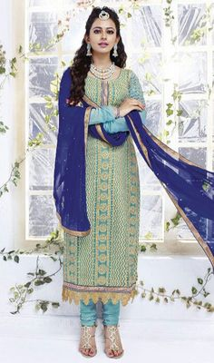Look stylishly elegant clad in this cyan blue chiffon embroidered churidar dress. The stunning lace and resham work a significant attribute of this attire. #LatestDarkAndLightBlueCombinationDress