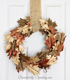 Metallic Browns and Gold Leaf DIY Fall Wreath