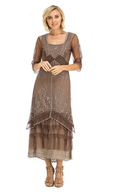 Gorgeous Nataya dress 2101 in choc/ash color by Vintage Inspired designer Inga Nataya known for her eclectic vintage inspired dresses and Vintage style Wedding Gowns worn by Katie Holmes and Anne Hathaway to name a few.Nataya 2101choc/ash Vintage dress.