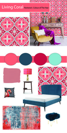 How To Use Living Coral - Pantone's Colour Of The Year 2019 - The Interior Editor Coral Living Rooms, Living Room Decor, Decor Room, Mood Board Interior, Home Trends, Color Of The Year, Pantone Color, Diy Bedroom Decor, Home Decor