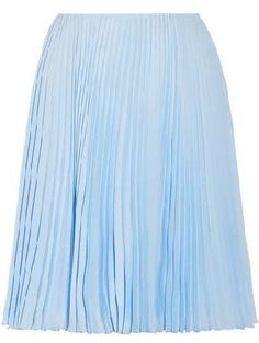 Light-blue plissé crepe de chine Concealed hook and zip fastening at side polyester Dry clean Made in Italy Pastel Skirt, Blue Pleated Skirt, Pleated Skirt Outfit, Blue Dress Pants, Dressy Pants, Blue Fashion, Skirt Fashion, Elsa Outfit, Light Blue Skirts