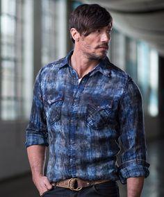 Men's Ryan Michael Indigo Double Face Plaid Shirt at Maverick Western Wear