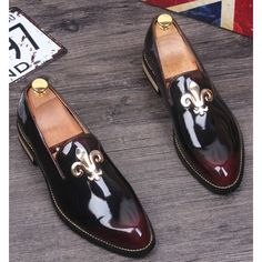 Burgundy Patent Leather Fashion Wedding Prom Dress Loafers Shoes Men SKU-1100260