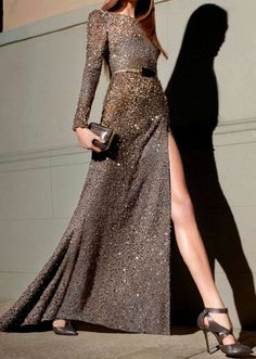 sparkly gray long dress