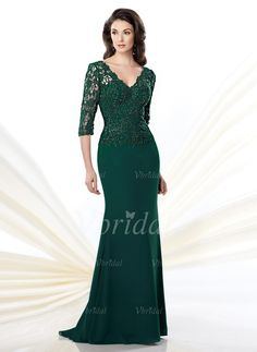 Mother of the Bride Dresses - $151.39 - Trumpet/Mermaid V-neck Court Train Chiffon Mother of the Bride Dress With Beading Appliques Lace (0085057440)