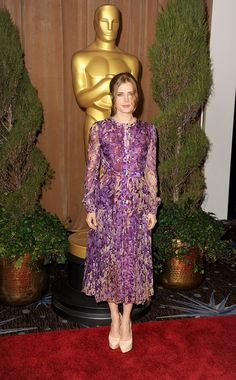 Amy Adams in a floral J. Mendel number at the Oscar Nominees lunch
