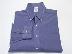 Brooks Brothers 16-33 Slim Fit Non-Iron All Cotton Men's Dress Shirt Blue Check #BrooksBrothers