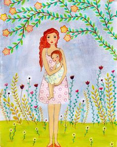 Art Print, Mother and Child Painting, Mixed Media Art Print    Title - A Mothers Love    This listing is for a large format print of my mixed media