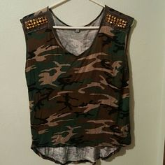 Charlotte Russe top Camo charlotte Russe top with studs on the shoulders. Size small. Charlotte Russe Tops