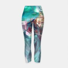'Futuristic visions' <> Yoga pants printed with my encaustic painting are available from Live Heroes!