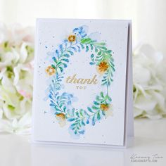 Thank You Card by Keeway Tsao for Papertrey Ink (April 2017). I do t have this wreath set but I bet I have others stamps to create a similar look.