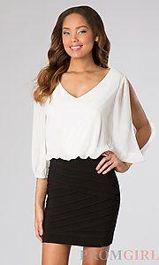 Buy Short V-Neck Dress with Cold Shoulders at PromGirl