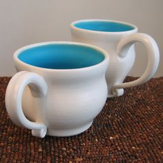Turquoise Blue His and Her Pottery Mugs 18 oz Large by KarinLorenc, $44.00