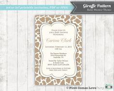 Neutral Baby Shower Invitation  Giraffe by FirstComesLovePrints