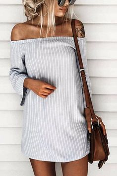 Sexy Off Shoulder Lace Up Stripe Patern Mini dress