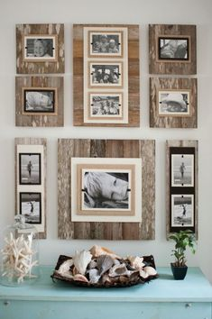 Reclaimed Wood 22 X 22 Frame 8 X 10 Photo- Brown - Classy Country. Distressed frame wall collage