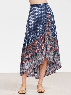Shop Blue Ornate Print High Low Ruffle Skirt online SheIn offers Blue Ornate Print High Low Ruffle Skirt more to fit your fashionable needs Jupe Swing, Swing Skirt, Modest Fashion, Boho Fashion, Fashion Dresses, Boho Outfits, Skirt Outfits, Ruffle Skirt, Dress Skirt
