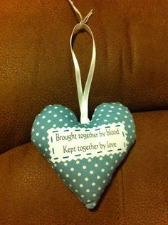 Family heart, Family gift, padded heart, by AndiesAccessoriesUK on Etsy