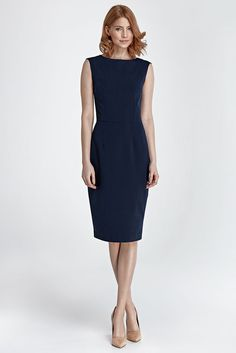 183f53ee174 Robe habillée femme sans manche bleu foncé mode NIFE S 36 M 38 L