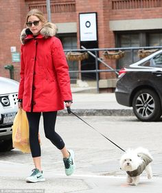 Wrap up warm: Style icon Olivia Palermo opted for a bright red jacket as she walked her pet dog in New York on Monday afternoon