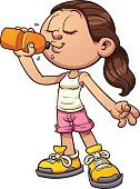 Cartoon girl drinking water. Vector clip art illustration with simple gradients. All in a single layer.