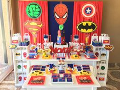 The dessert table at this Superheroes Birthday Party is awesome!! See more party ideas and share yours at CatchMyParty.com #catchmyparty #superherobirthdayparty #boybirthdayparty