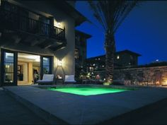 Outside Swimming Pool With Lights and Surrounding System