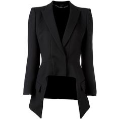 Alexander McQueen high low blazer (9.930 DKK) ❤ liked on Polyvore featuring outerwear, jackets, blazers, coats & jackets, tops, black, long sleeve jacket, peaked lapel blazer, long sleeve blazer and alexander mcqueen