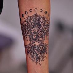 mistical snake and tree of life tattoo by@mirkosataphotographed by@andreasataforeverat@satatttvisionstudio