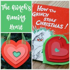 """A homemade Christmas ornament the family can make together based on Dr. Seuss' """"How the Grinch Stole Christmas."""" The Grinch's growing heart ornament!"""
