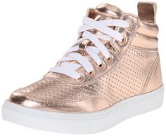 metallic shoes for kids   rose gold high tops from Steve Madden