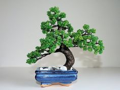 Made out of beads!!! Beaded Pine Bonsai by CraftBoutiqueCanada on Etsy, $99.90