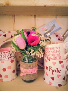 Micro jam jar with pink anemones from Kate Lister Flower Design Grimsby