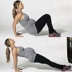 Strengthens triceps, shoulders and core.Dip: Start in a seated position with feet flat on floor, hip-width apart, and place the hands behind the seat with fingertips facing forward. Lift seat to a hover and shift weight into palms feeling the load in the shoulders and triceps. Bend elbows as deep as you can without seat hitting the floor, exhale, press through the palms and extend the arms squeezing through the triceps. Repeat 10 times.Reverse Plank: With arms straight, extend legs long…