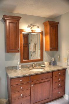Granite countertops bathroom on pinterest santa cecilia granite granite countertops and granite for Cherry wood bathroom furniture