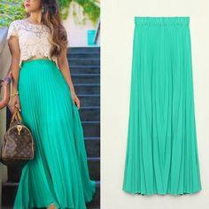 Tropical Long Pleated Chiffon Maxi Skirts