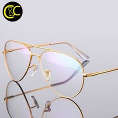 f17c5dbb8657 Gold Aviation clear frame eyeglasses Oculos de grau CC0838 Retro Eye Glasses