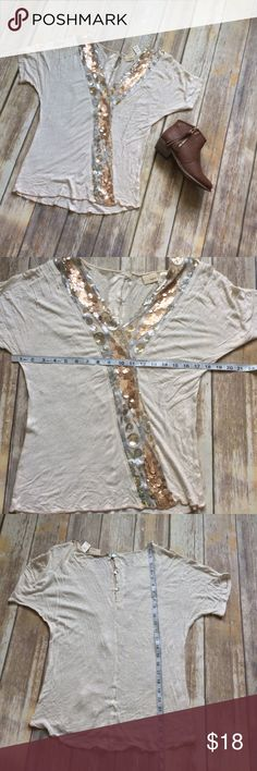 Daytrip Sequined Dolman Sleeve Top sz S Great condition cream blouse with dolman sleeves and button back detailing. Daytrip Tops Blouses