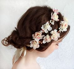 cream wedding hair accessories, ivory flower hair wreath, bridal headpiece-  SHEPHERDESS - pink bridal head piece, flower girl. $145.00, via Etsy.