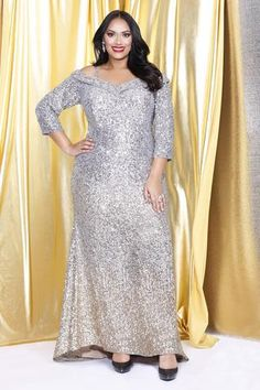 Kurves By Kimi Plus-Size sequin glowing off the shoulder evening gown front view