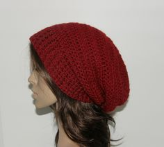 Everyday Extra Slouch Hat - Cranberry - made to order - long slouch hat. $35.00, via Etsy.