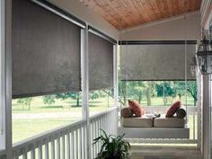 Popular Outdoor Porch Shades : Outdoor Sun Shade For Porch. Outdoor sun shade for porch. Porch Windows, Blinds Design, House With Porch, Budget Blinds, Blinds For Windows, Window Coverings, Outdoor Blinds, Exterior Solar Shade, Patio Blinds