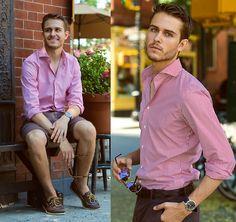 Stripe Shirt, Belt, Shorts, Watch, Sperrys, Gucci Bamboo Sunnies - Cherry coke  - Adam Gallagher